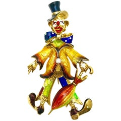 Spritzer & Fuhrman Diamond and Enameled Yellow Gold Clown Brooch