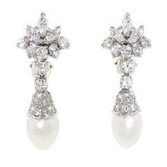 Spritzer & Fuhrmann Platinum Diamond White Gold South Sea Pearl Drop Earrings