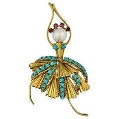 Spritzer & Fuhrmann Turquoise and Pearl Ballerina Brooch