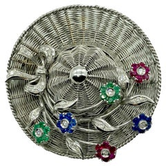 Spritzer & Fuhrmann White Gold Hat Brooch with Gemstone Flowers