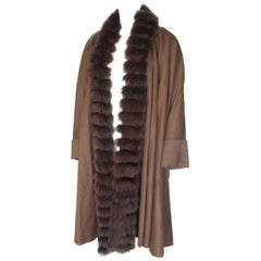 Sprung Freres Paris Brown Cashmere Sable Fur Stole Cape
