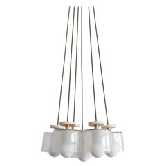Spun 6-Piece Chandelier Pendant in Frosted Glass Shade, Field Adjustable Light