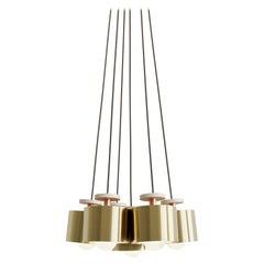 Spun 6-Piece Pendant Chandelier in Brass, Field Length Adjustable Light Fixture