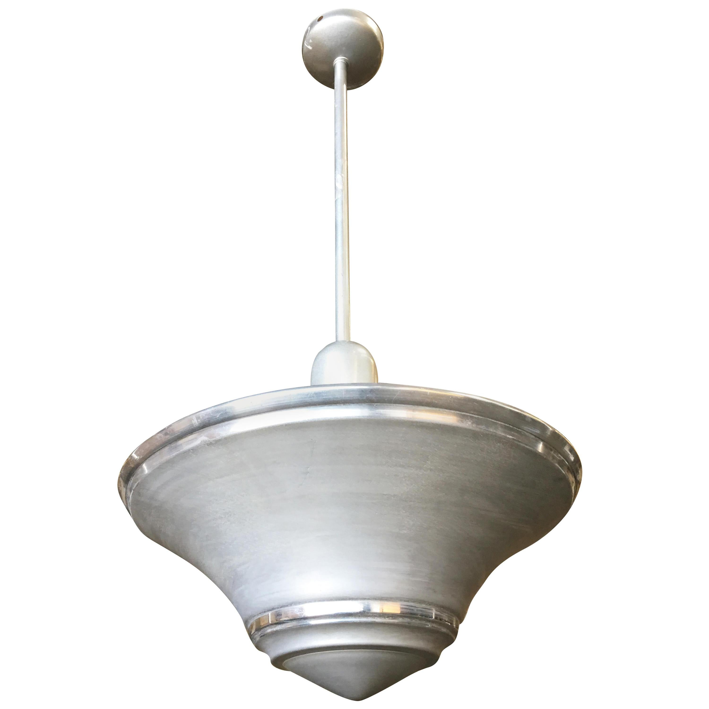 Spun Aluminum Art Deco Saucer Ceiling Pendant Lamp