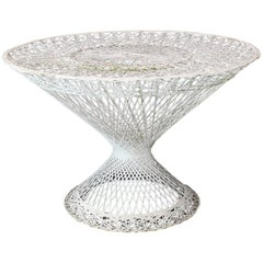 Spun Fiberglass Round Cone Shape Base Outdoor Dining Table Woodard
