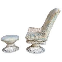 Spun Fiberglass Swivel Lounge Chair and Ottoman