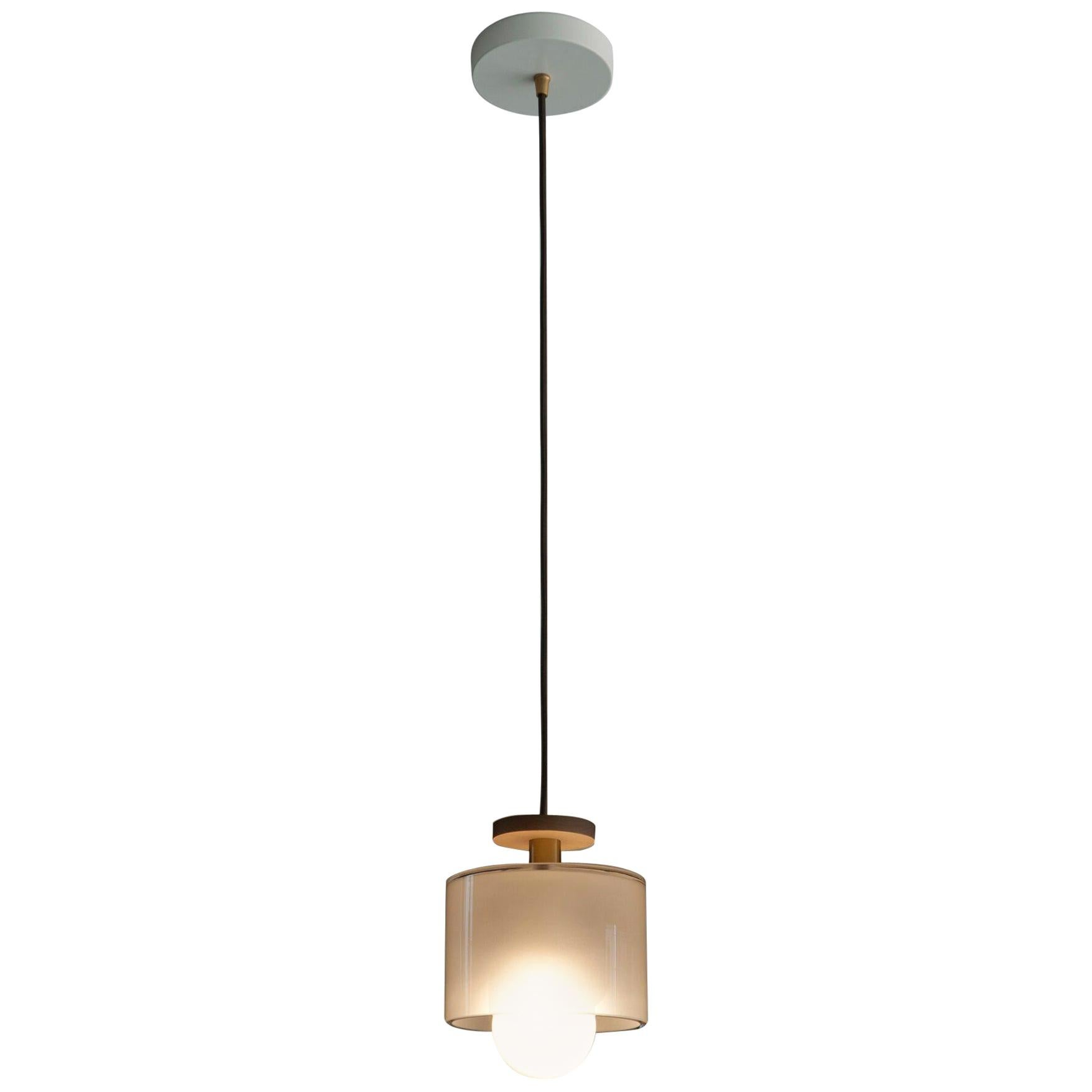 Spun Pendant Light with Frosted Glass Shade Fixture