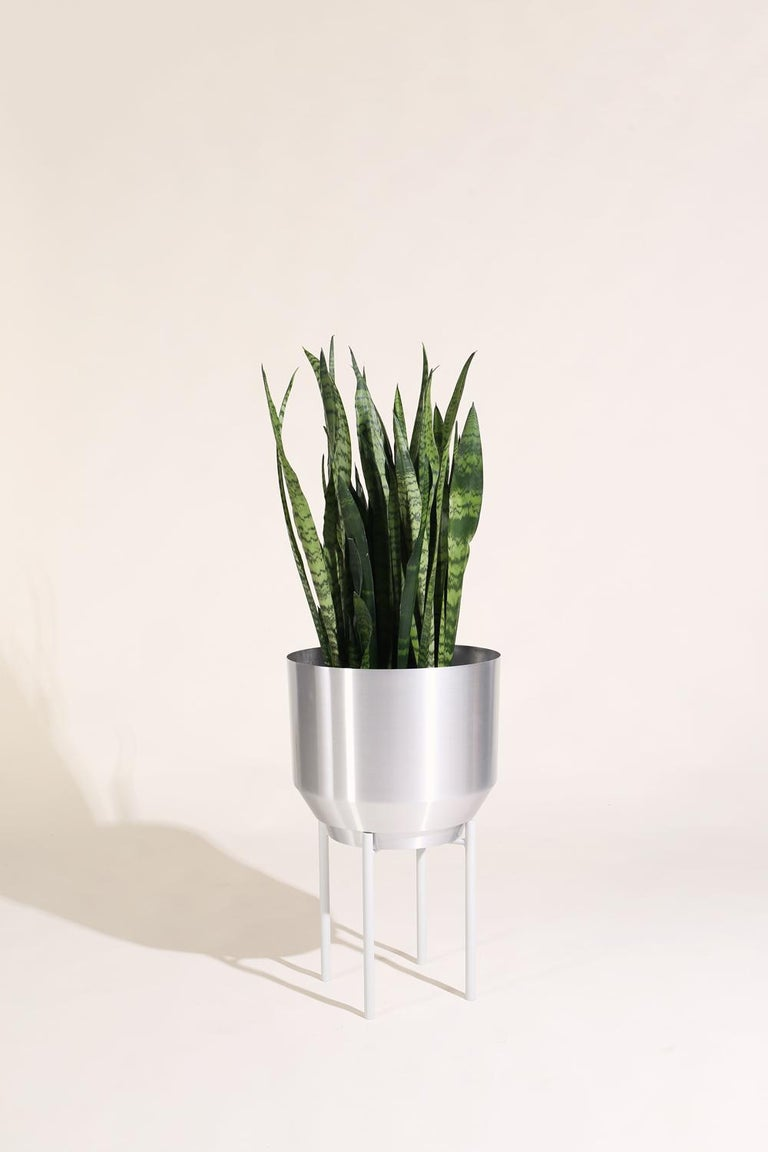 Modern Spun Planter, Aluminum For Sale