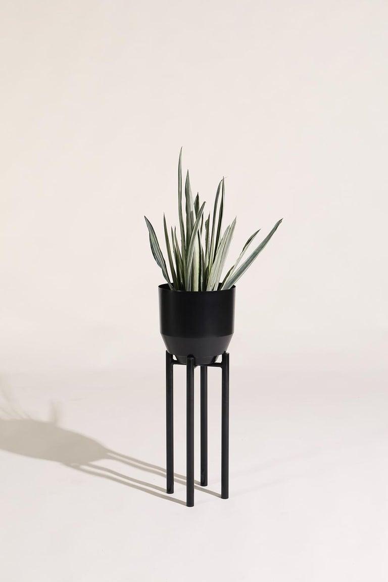 Modern Spun Planter, Black For Sale