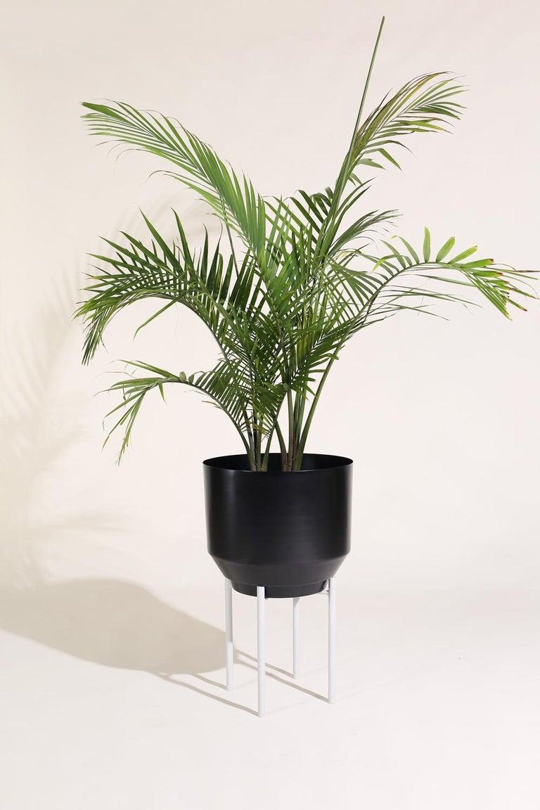 Powder-Coated Spun Planter, Black For Sale