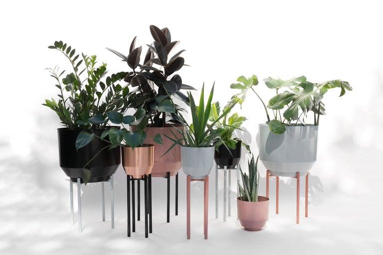 Contemporary Spun Planter, Black For Sale