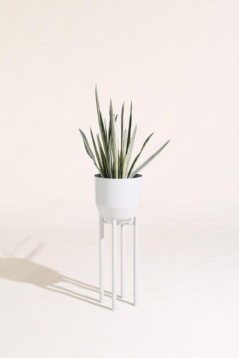 Modern Spun Planter, Pale Gray For Sale