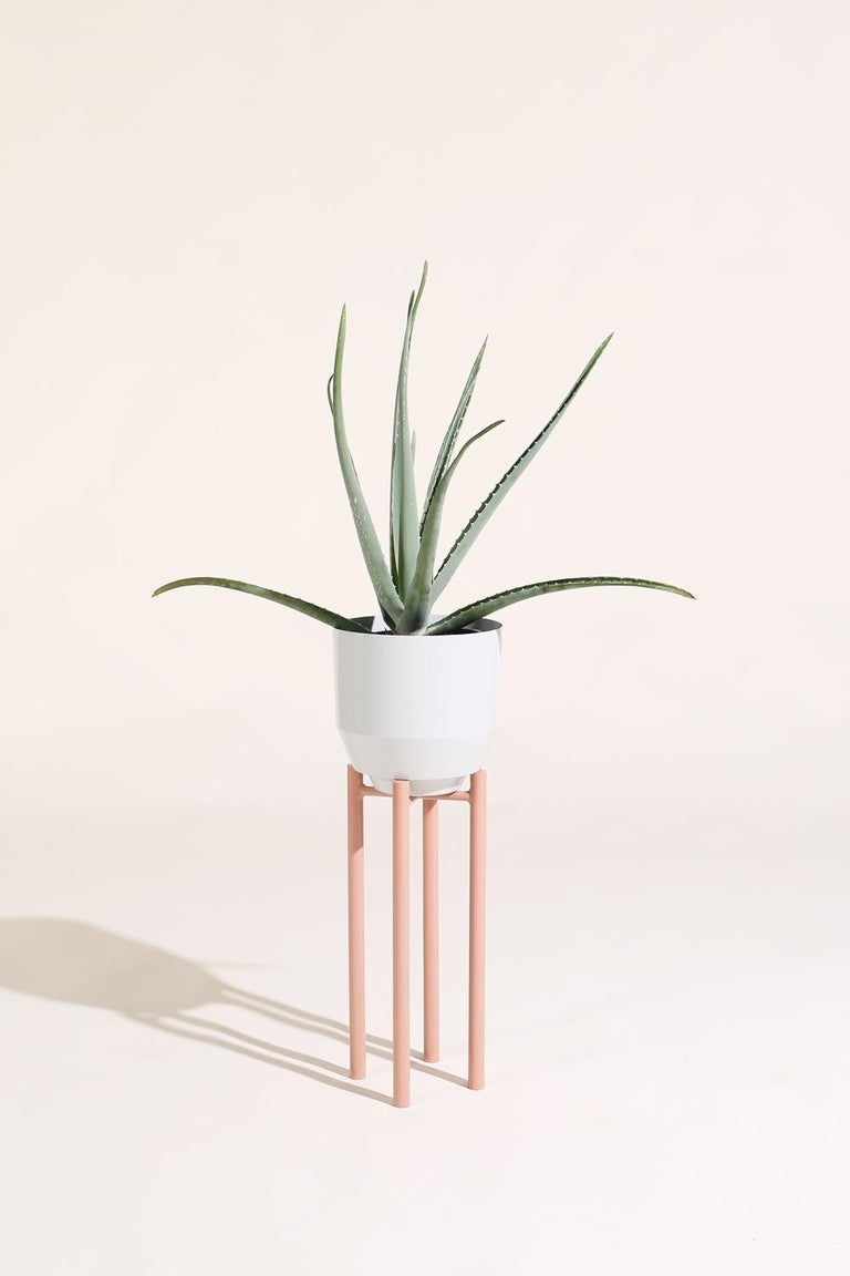 Powder-Coated Spun Planter, Pale Gray For Sale