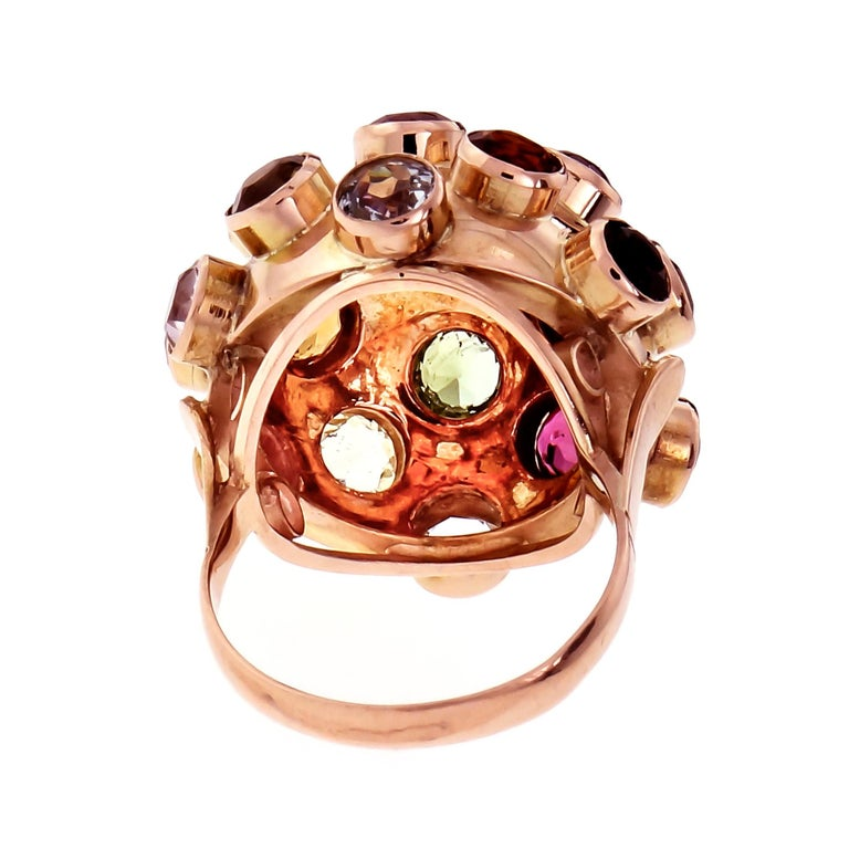 Sputnik 1960s style dome cocktail ring with multi-color natural Aqua, Blue Zircon, Amethyst, Tourmaline and Citrine gemstones all securely tube set in 18k rose gold setting.   1 round pink Tourmaline, approx. total weight .40cts, 4.8mm  18 round