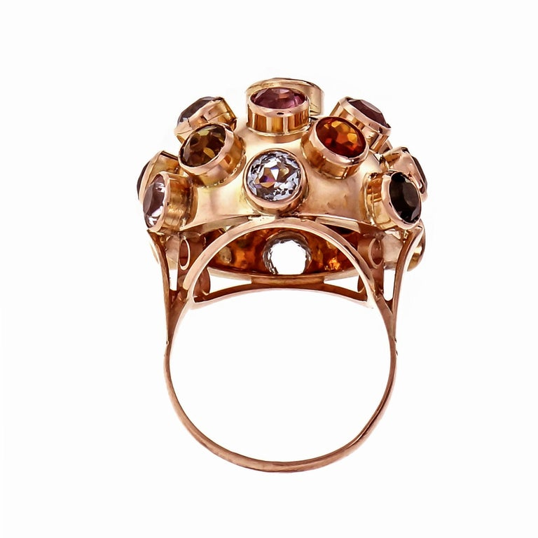 Round Cut Sputnik Aqua Blue Ziron Amethyst Tourmaline Citrine Rose Gold Cocktail Ring For Sale