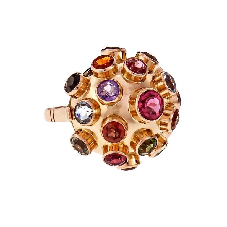 Women's Sputnik Aqua Blue Ziron Amethyst Tourmaline Citrine Rose Gold Cocktail Ring For Sale