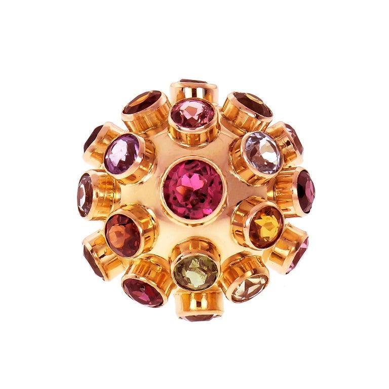 Sputnik Aqua Blue Ziron Amethyst Tourmaline Citrine Rose Gold Cocktail Ring For Sale