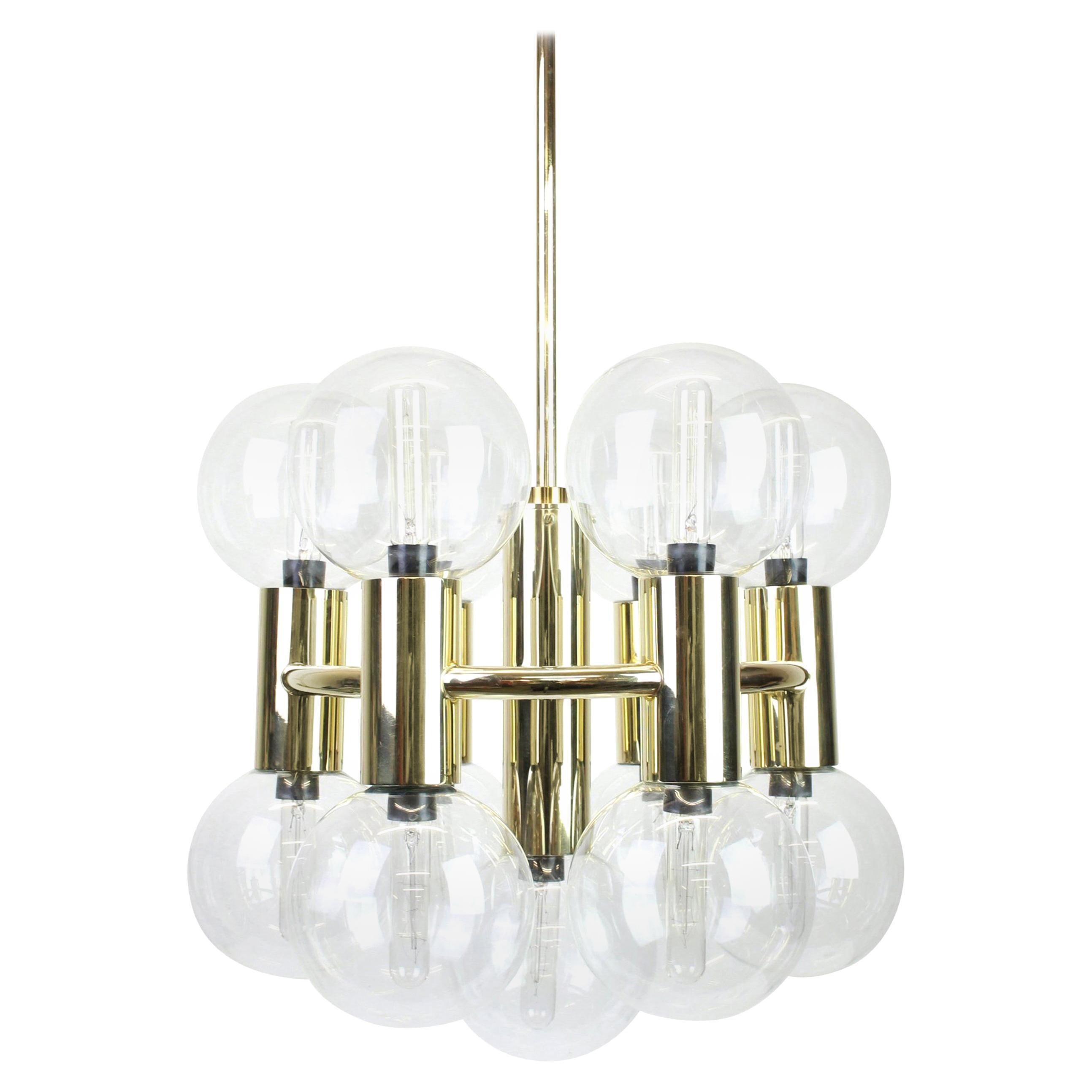 Sputnik Brass Chandelier Design by Motoko Ishii for Staff, Germany, 1970s