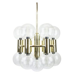 Sputnik Brass Chandelier Design by Motoko Ishii for Staff, Germany, 1970s