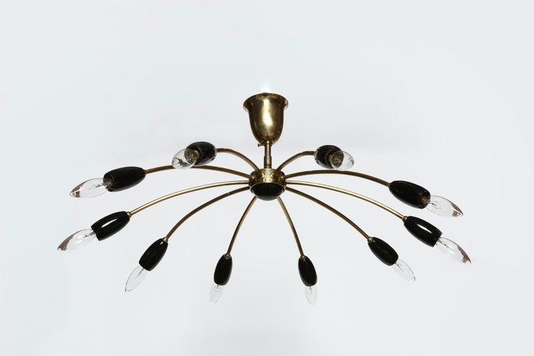 German Sputnik Brass Chandelier For Sale