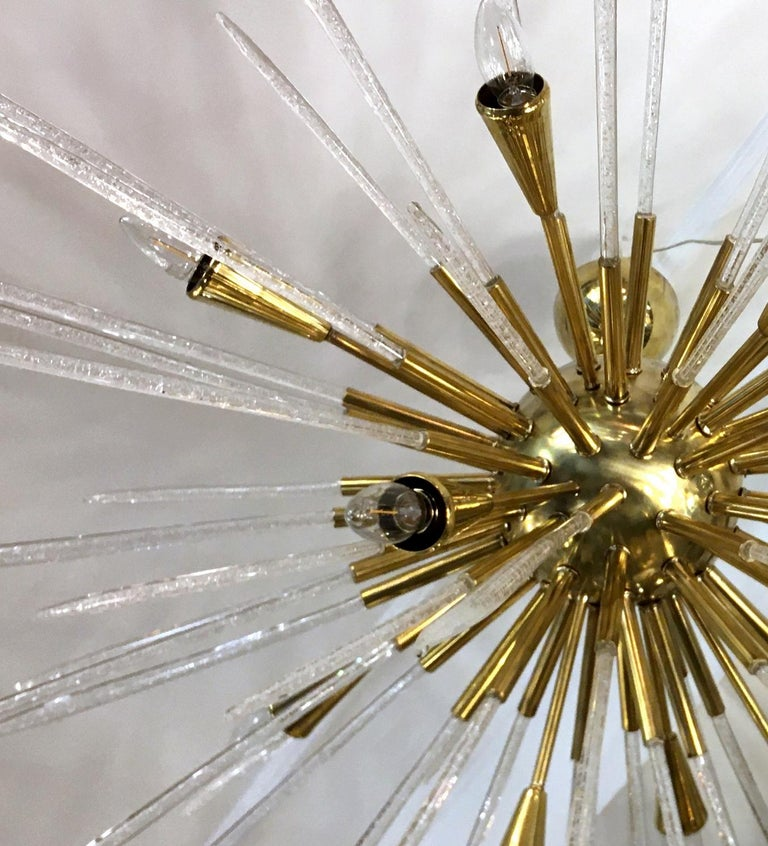 Italian Sputnik Chandelier in Polished Brass and Glass, Italy, 1980 For Sale