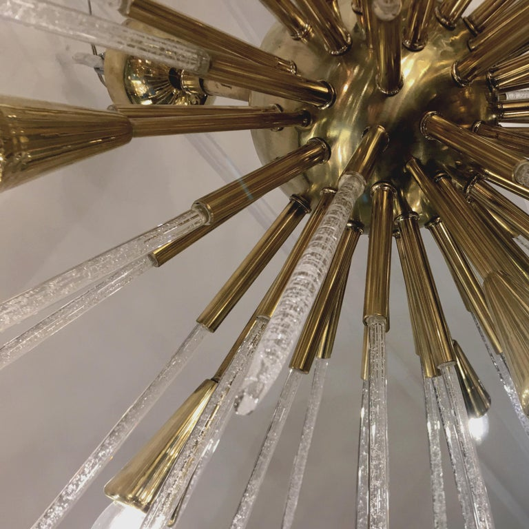 Sputnik Chandelier in Polished Brass and Glass, Italy, 1980 For Sale 2