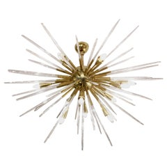 Sputnik Chandelier in Polished Brass and Glass, Italy, 1980