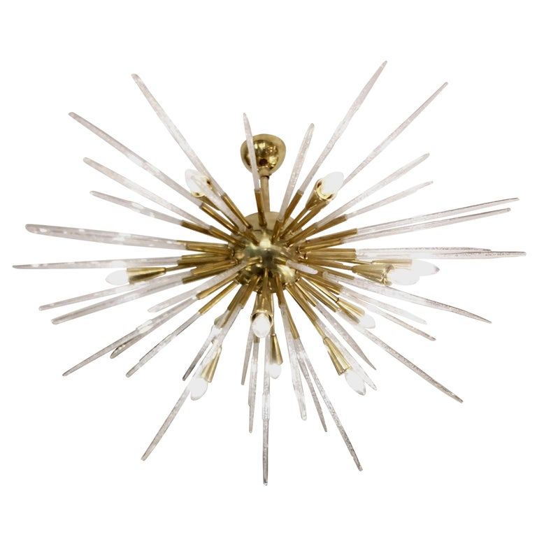 Sputnik Chandelier in Polished Brass and Glass, Italy, 1980 For Sale