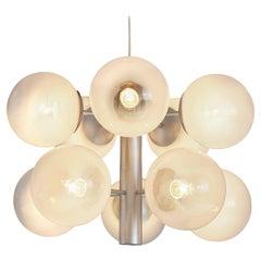 Sputnik Chandelier with Ten Glass Globes and Matte Metal