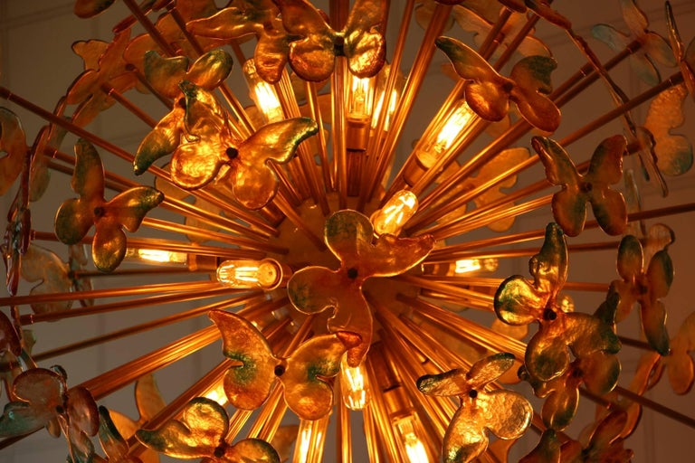 Sputnik Chandelier with Yellow and Green Glass Butterflies For Sale 3