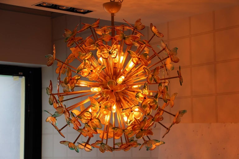 Sputnik Chandelier with Yellow and Green Glass Butterflies For Sale 5