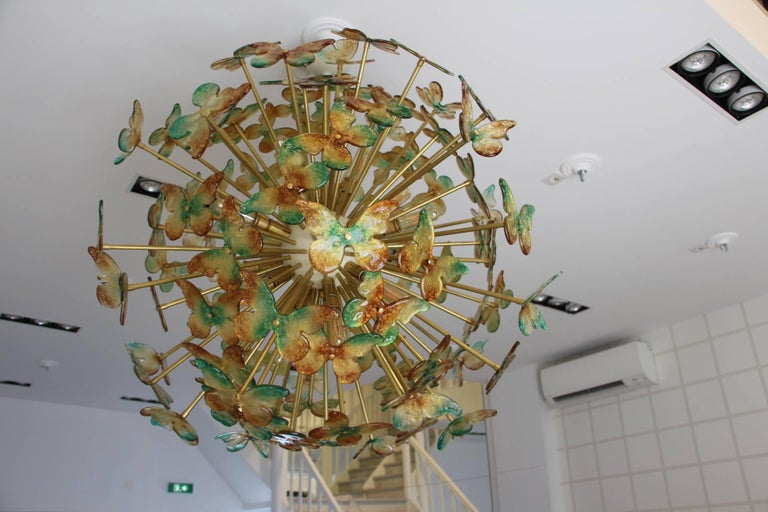 Italian Sputnik Chandelier with Yellow and Green Glass Butterflies For Sale