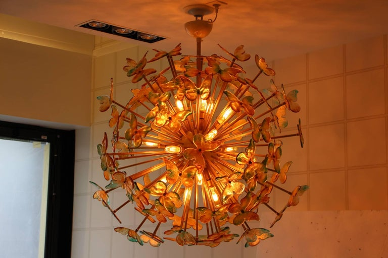 Sputnik Chandelier with Yellow and Green Glass Butterflies For Sale 2