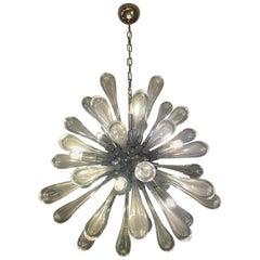 Sputnik Chromed Steel Submerged Murano Glass Oblong Bulbs Chandelier Italy 1970s