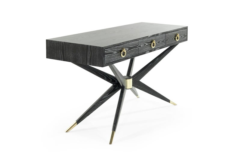 American Sputnik Console Table in Black Ceruse For Sale