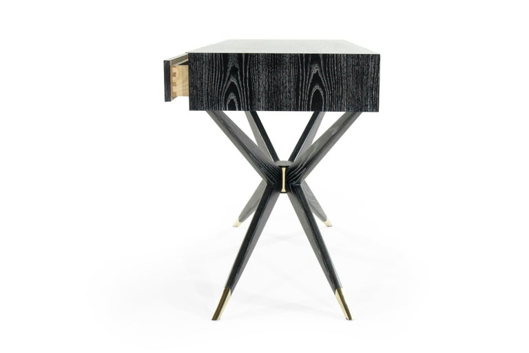 Sputnik Console Table in Black Ceruse In New Condition For Sale In Stamford, CT