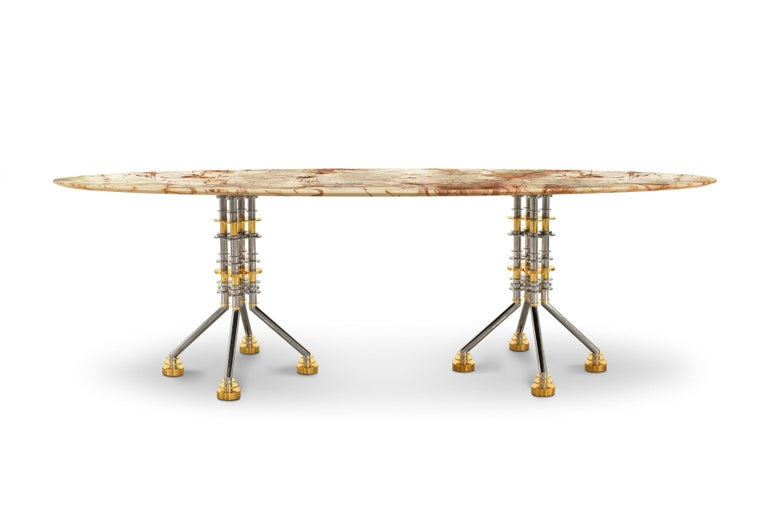 Sputnik Contemporary Oval Dining Table With Spiderman Marble Top