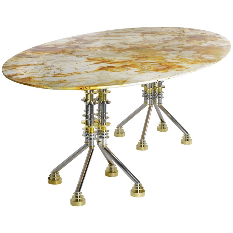 Sputnik Contemporary Oval Dining Table With Spiderman Marble Top And Metal Base For Sale
