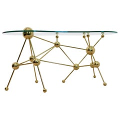Sputnik Desk or Table with Brass Legs and Glass Top