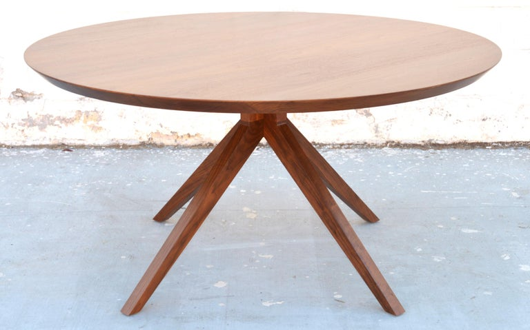 Mid-Century Modern 'Sputnik' Dining Table in Solid Walnut, Built to Order by Petersen Antiques For Sale