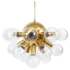 Sputnik Globe Lamp Glass and Brass Chandelier by J.T. Kalmar, 1960