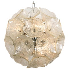 Sputnik Murano Glass and Chrome Chandelier in the Style of Venini, 1960s
