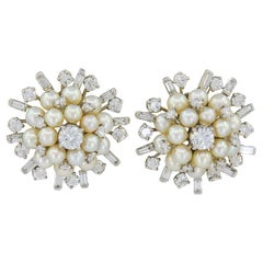 Sputnik Retro Diamond Pearl Earrings