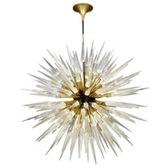 Sputnik Shard Chandelier with Murano Glass and Brass Manufactured in Italy