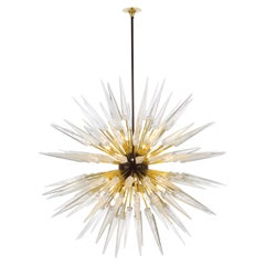 Sputnik Shard Chandelier with Murano Glass and Brass, Made in Italy 'US Spec'
