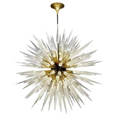 Sputnik Shard Chandelier with Murano Glass and Brass, made in Italy
