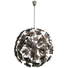 Sputnik Smoked Glass and Chrome Ceiling Lamp, Italy, circa 1970