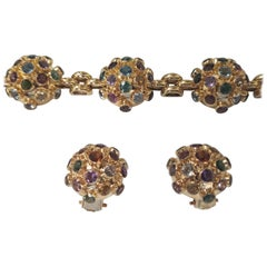 Sputnik Style Ring in 18 Karat Gold Semi Precious Stone Bracelet and Earrings