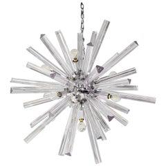Sputnik Style Venini Chandelier in Chrome with Glass Rods, 1970s