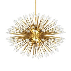 Sputnik Teardrop Shape Murano Glass and Brass Chandelier, Italy